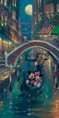 Disney Fine Art Gallery Wrapped Giclee - Moonlight In Venice by James Coleman featuring Minnie & Mickey Mouse