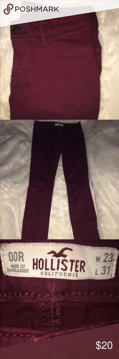 Womens Hollister Jeans Hollister jeans in great condition! Burgundy/Maroon colored, size 00R width- 23 length- 31 Hollister Jeans Skinny