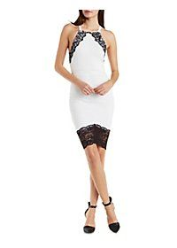 Lace-Trim Strappy Bodycon Dress