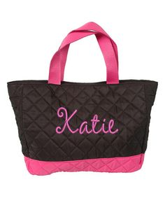 Black & Hot Pink Personalized Quilted Tote #zulily #zulilyfinds