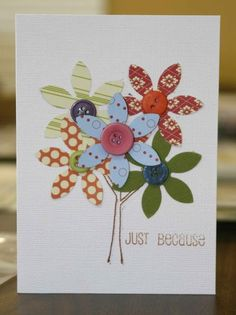 Love the different flowers. Would be great to use fabric for the flower cut outs too.