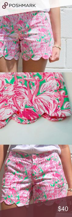 "Lilly Pulitzer Buttercup Short Lilly Pulitzer 5"" scallop hem Buttercup shorts in a bright, cheerful flamingo print. Only worn three times and in excellent condition! Lilly Pulitzer Shorts"