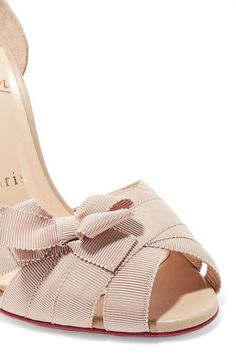 Christian Louboutin - Christeriva 100 Bow-embellished Grosgrain And Suede Sandals - Beige - IT41