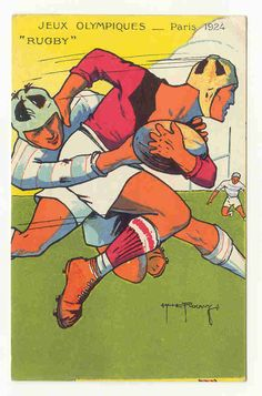 Rugby Poster 1924 for the Olympics - USA 2 time defending Gold Medal Medal winners Rugby League, Rugby Players, Rugby Images, Rugby Poster, Rugby Sport, Rugby Gear, Fifa, Sports Art, Sports Posters