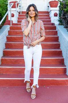 Pairing a collared, striped, button up shirt with a pair of cute white jeans is a great summer look for any kind of mom! I completed the look with a pair of espadrilles heels that aren't too high so the outfit is still comfortable but dressed up. Click through to see a second way I styled this button shirt for summer style that works. #summerfashion #summerstyle #summeroutfits #momfashion #momstyle #casualoutfits #casual #whitejeans #heels Summer Outfits For Moms, Casual Outfits For Moms, Mom Outfits, Simple Outfits, Classy Outfits, Spring Outfits, Cool Sweaters, How To Look Classy, Mom Style