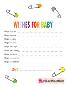Wishes for Baby Cards with Safety Pins