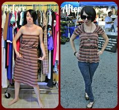 AWESOME refashion. I always find strapless dresses on the clearance rack at the end of the summer, and the material is always gorgeous but I won't wear them as-is!