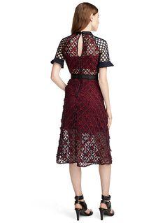 Floral grid midi dress - Self-Portrait - Ruby Red