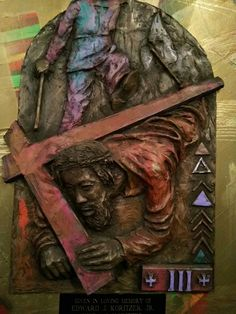 Jesus falls the first time. Stations of the Cross at St. Bernardine Church in Baltimore. Photo: C. Matthew Hawkins