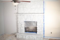 How To Whitewash A Stone Fireplace – Coffee With Summer – Stone fireplace living room Whitewash Stone Fireplace, White Stone Fireplaces, Brick Fireplace Decor, Stone Fireplace Makeover, Painted Brick Fireplaces, Paint Fireplace, Rock Fireplaces, Faux Fireplace, Living Room With Fireplace