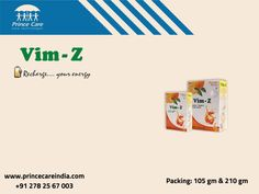 Vim-Z is a combination of Dextrose, Vitamin-c  zinc Powder. Vim-Z is energy drink with exciting flavor and tingling taste. www.princecareindia.com Vitamin C And Zinc, Energy Drinks, Vitamins, Powder, How To Get, Health, Face Powder, Health Care, Vitamin D