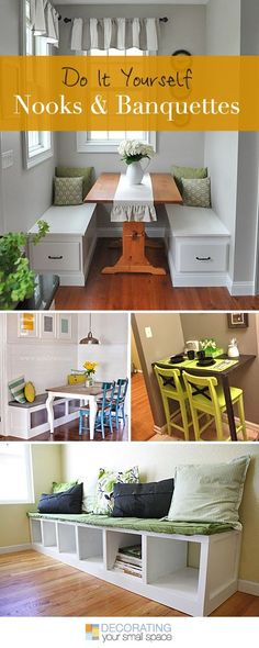 Best Diy Crafts Ideas For Your Home : DIY Nooks and Banquettes Ideas & Tutorials! Build your own kitchen nook Kitchen Nook, Kitchen Decor, Kitchen Ideas, Kitchen Interior, Kitchen Dining, Small Space Living, Small Spaces, Small Dining, Ideas Prácticas