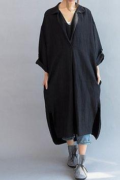 Women Loose Fitting Linen Long Dress/ Cotton Asymmetric Gray Oversized Dress Black Loose Linen Long Dress Q0802
