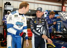 At-track photos: Sonoma and Iowa Weekend Sunday, June 25, 2017 Brad Keselowski, driver of the No. 2 Freightliner Elite Support Ford, talks to Jamie McMurray, driver of the No. 1 Cessna Chevrolet, in the garage during practice for the Monster Energy NASCAR Cup Series Toyota/Save Mart 350 at Sonoma Raceway on Friday. Photo Credit: Matt Sullivan/Getty Images Photo: 54 / 79