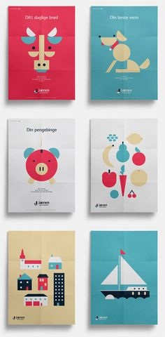 A series of playful posters based on simple 2D illustrations.