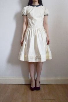 Alice dress prototype in cream down proof cotton and navy cotton by Yuka Maeda