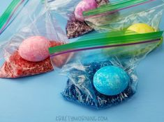 Rice Shake Easter Eggs in Ziploc Bags