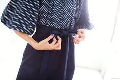Navy blue with dots