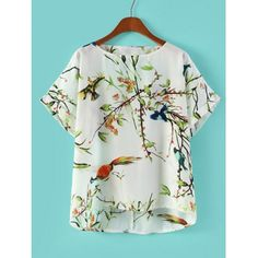 Bird and Floral Print Backless Scoop Collar Short Sleeve Stylish Women's Blouse, AS THE PICTURE, M in Blouses | DressLily.com