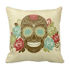 Friendly Skull and Roses Graphic on Cushion