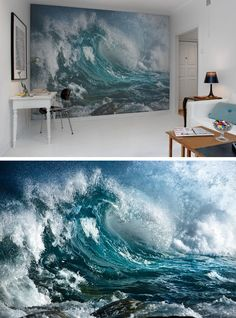 No Wave, Seascape Paintings, Landscape Paintings, Painting Canvas, Canvas Art, Water Art, Water Drawing, Water Water, Lemon Water