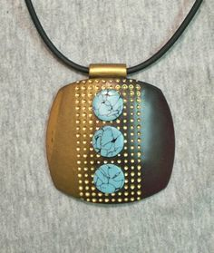Polymer clay focal bead pendant turquoise gold copper dots | Flickr - Photo Sharing!