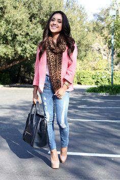 light denim + pink + leopard