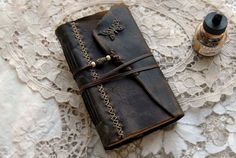 The Butterfly Effect - Rugged Brown Leather Journal, Hand Bound, Tea Stained Pages, Vintage Ink Stamps, OOAK