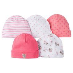 Gerber Girls' 5 pack Caps Set - Bear Print Coral 0-6 M, Newborn Girl's, Red