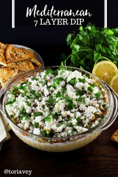 Mediterranean 7 Layer Dip - A Healthy Mediterranean Twist On Seven Layer Dip With Hummus, Greek Yogurt, Greek Olives, Feta Cheese And More. Present With Pita Chips Or Crudits. Via Toriavey Healthy Appetizers Dips, Appetizer Dips, Appetizer Recipes, Seven Layer Dip, Supper Recipes, Lunch Recipes, Healthy Recipes, Party Recipes, Vegetarian Recipes