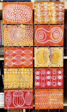 wall hanging series by Garimo Eva Cockova, acrylic on paper, hemp string