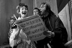 Maria Callas con Nicola Rossi-Lemeni e Tito Gobbi, al Teatro La Scala Milano 1955