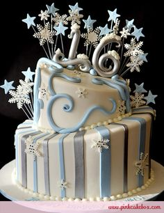 Sweet 16 Snowflake Winter Cake by Pink Cake Box in Denville, NJ. More photos at http://blog.pinkcakebox.com/sweet-16-snowflake-winter-cake-2011-01-02.htm #cakes