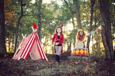 Circus theme photoshoot with dog as lion {Brooke Kelly Photography}