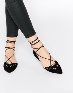ALDO Harmony Black Leather Laser Cut Ghillie Lace Up Flat Shoes at asos.com 8ed37e823f48