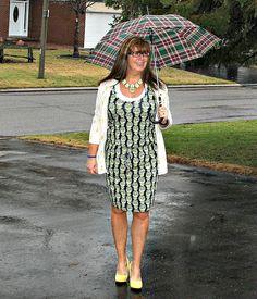 Pineapple Dress Banana Republic and Pineapple Cardi Target, shoe dazzle shoes, Yosa Necklace, Plaid Umbrella-Target