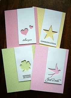 fantastic idea for an all-purpose card set using die cuts and sentiment stamps | allamericanstampers via Splitcoaststampers