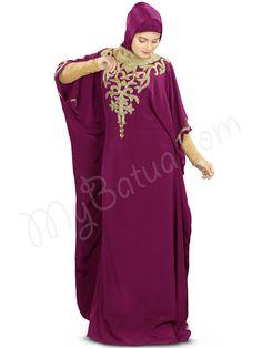 https://flic.kr/p/q1uztz | Pretty Embroidered Party Wear Nayyab Hand Embroidered Wine Kaftan|MyBatua.com | Style No : KF-002W Price : $113.30