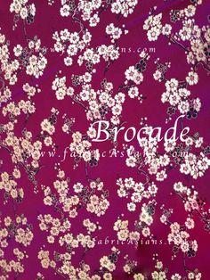 "Magenta brocade fabric. Cherry Blossom. Chinese Brocade. Cheongsam fabric.  29"". SB100882"