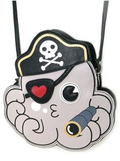 Vinyl Sleepyville Critter Pirate Octopus Shoulder Bag (Grey)