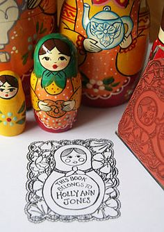I love it, I love it, I love it. Russian doll personalised rubber stamp. Book plate.
