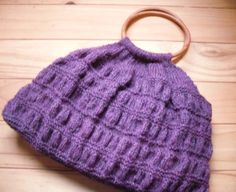 Hand Knitted Purple Bag Small Round Handled Handbag by Kezylou, £20.00