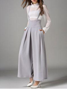 rosegal - Cross Back Wide Leg Suspender Pants - Gray Bottoms fashion Zara Fashion, Blazer Fashion, Look Fashion, Hijab Fashion, Korean Fashion, Fashion Dresses, Womens Fashion, Fashion Site, Fashion Websites