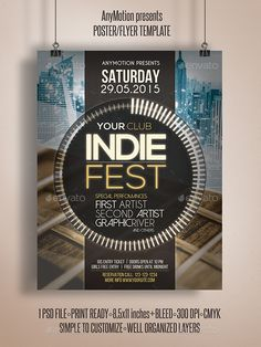 Indie Fest Flyer | Poster Template #design Download: http://graphicriver.net/item/indie-fest-flyer-poster/12578342?ref=ksioks
