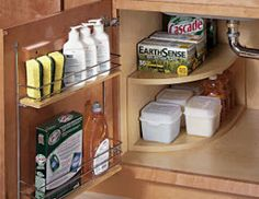 Under sink organizing with back of the door organizer | OrganizingMadeFun.com
