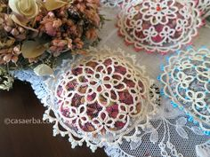 Ecru Tatted Lace Sachets with Japanese Glass Beads