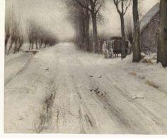 Winterlandschap met boerderij aan een laan, Louis Apol, 1860 - 1936 - Rijksmuseum Snow Art, Dutch Painters, Picasso, Om, Paintings, School, Classic, Outdoor, Painted Canvas