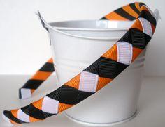 Halloween Headband ribbon woven tangerine by LeahsLittleBowtique, $7.00