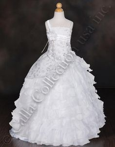 Long ruffle tiered communion ball gown
