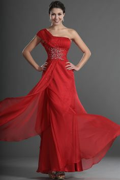 osell wholesale dropship Chiffon Pleated Beading One Shoulder Sleeveless Floor Length A Line Evening Prom Dresses $84.17